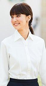 01135 en joie(アンジョア) 首元をきれいにみせ優美なシルエット長袖シャツ 93-01135