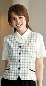 16080 en joie(アンジョア) 柔らかな風合いの美人スタイルなチェック柄ベスト 93-16080