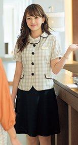 56304 en joie(アンジョア) 夏に最適な清涼素材のストレッチフレアースカート 無地 93-56304