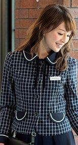 81630 en joie(アンジョア) まるいデザイン襟とフラップポケットがかわいいジャケット(リボン付) チェック 93-81630