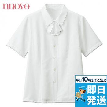 [在庫限り]FB7086 nuovo(ヌーヴォ) 半袖ブラウス リボン付 FDミニダイヤ 91-FB7086