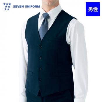 CJ4323 セブンユニフォーム 襟なしベスト(男性用)