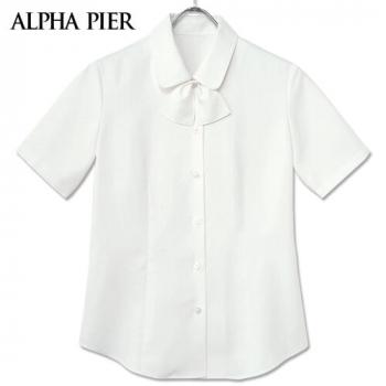 AR1656 アルファピア 半袖ブラウス(リボン付き) きちんと台衿