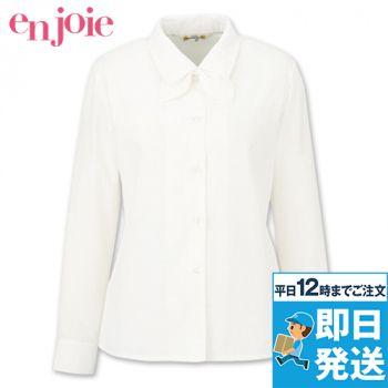 en joie(アンジョア) 01060 光沢のストライプがシャープで華やかな長袖ブラウス(リボン付)