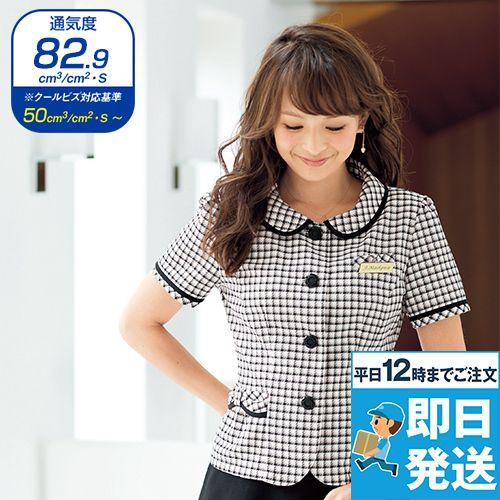 en joie(アンジョア) 26390 丸襟とポケットのリボンがかわいいチェック柄オーバーブラウス