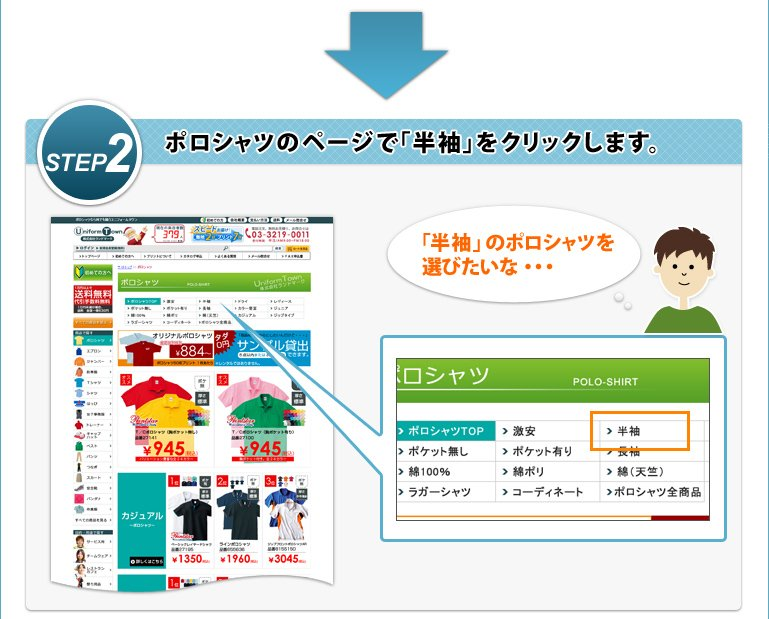 STEP2 ポロシャツのページで「半袖」をクリックします。