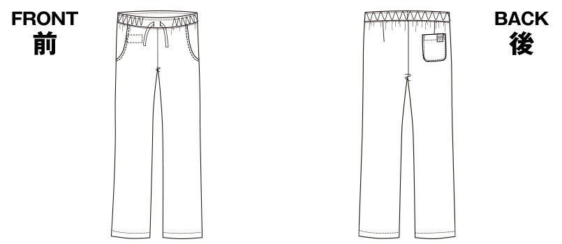 6012SC FOLK(フォーク) パントン レディースストレートパンツ 細身 総ゴムのハンガーイラスト・線画