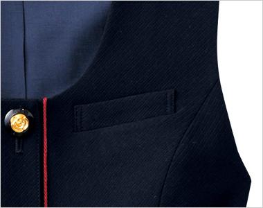 ネームプレートとペンを区分けできる名札ポケットと左胸ポケット