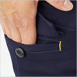 右脇ポケットのフラップ内側は、ステッチで開け口を補強