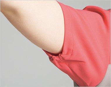 袖口が絞られたゴム仕様なので腕を上げても下着が見えない