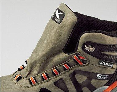 靴ベロは水やホコリの侵入を防止する水掻き付き