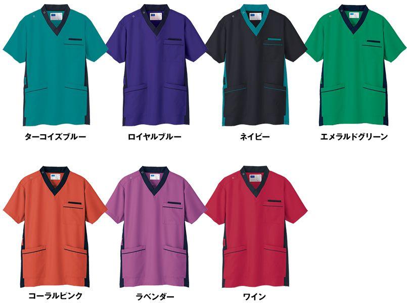 自重堂 WH11685 WHISEL スクラブ(男女兼用)衿と脇が配色 色展開
