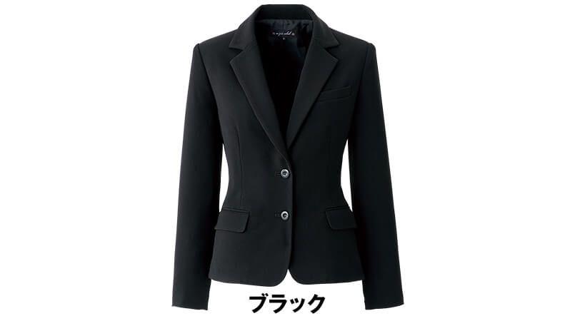 en joie(アンジョア) 81620 すっきりきれいなシルエットのストレッチジャケット 無地 色展開