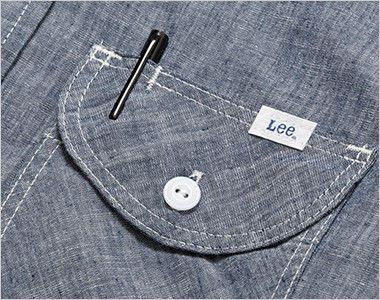 LCS46004 Lee シャンブレーシャツ/七分袖(男性用) 左胸フラップにあるペン挿し口