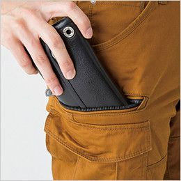 バートル 5502 綿100%チノクロスカーゴパンツ(男女兼用) 長財布・野帳収納ポケット