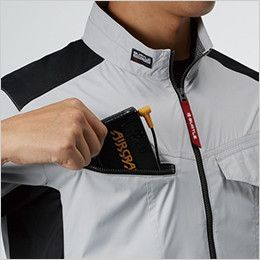 AC1076 バートル エアークラフト[空調服] 半袖ブルゾン(男女兼用) バッテリー収納ポケット、ファスナー止め、コードホール付き