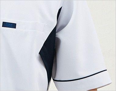 1015EW FOLK(フォーク) メンズケーシー(男性用) 体が引き締まって見える両脇のネイビー配色。 脇下のムレを解消するメッシュ仕様。
