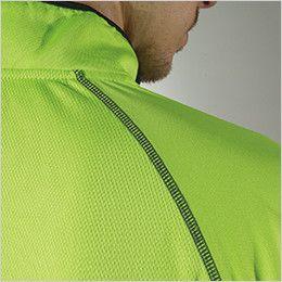 3015 TS DESIGN [春夏用]ハーフジップ ドライポロシャツ(男女兼用) 縫い目を平らに仕上げたフラットシーマー