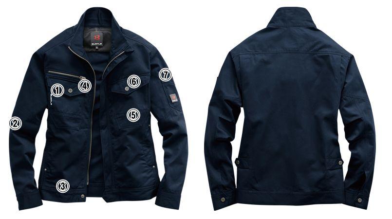 バートル 8101 綿100%ワーカーズツイル長袖ジャケット(男女兼用) 商品詳細・こだわりPOINT