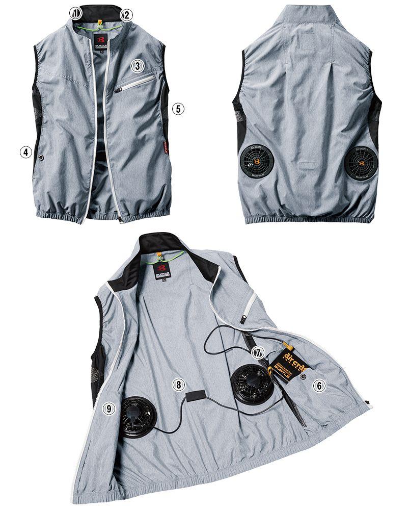 AC1024SET バートル エアークラフトセット[空調服]迷彩ベスト(男女兼用) ポリ100% 商品詳細・こだわりPOINT