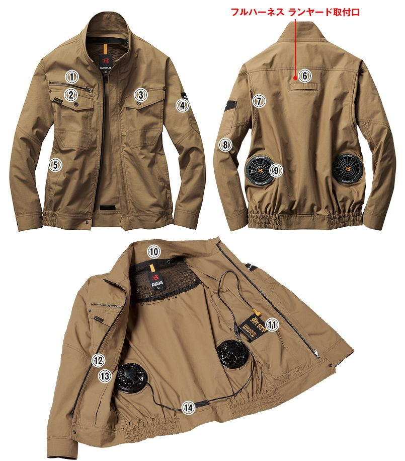 バートル AC1131 エアークラフト[空調服]長袖ブルゾン(男女兼用) 綿100% 商品詳細・こだわりPOINT