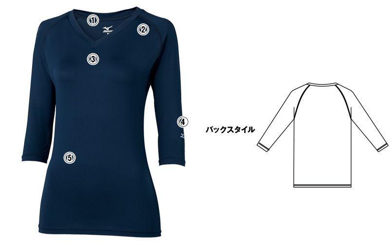 MZ-0134 ミズノ(mizuno) アンダーウェア(女性用)スクラブインナー七分袖 商品詳細・こだわりPOINT