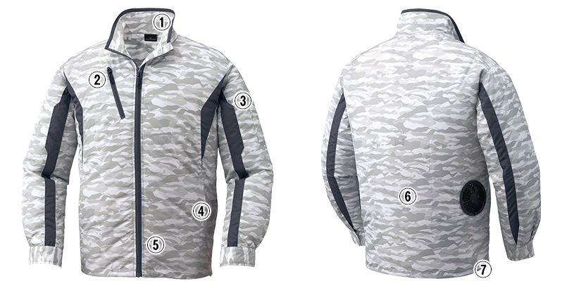 自重堂 87060SET [春夏用]空調服セット 迷彩 長袖ジャケット ポリ100% 商品詳細・こだわりPOINT