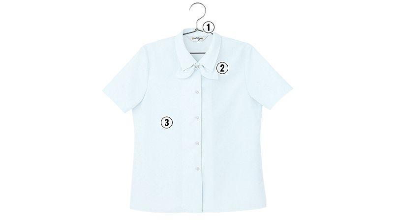 en joie(アンジョア) 06060 [通年]光沢のストライプがシャープで華やかな半袖ブラウス 商品詳細・こだわりPOINT