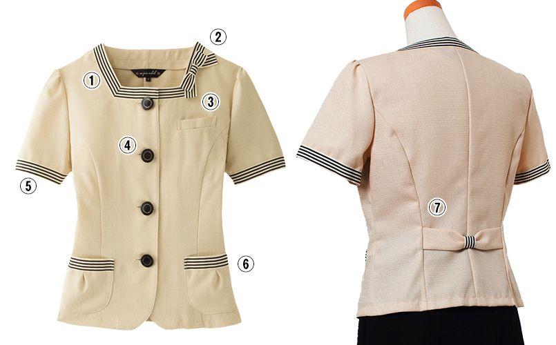en joie(アンジョア) 86370 [春夏用]モダンなボーダー×ミルクティーのような色合いのサマージャケット(ブローチ付) 商品詳細・こだわりPOINT