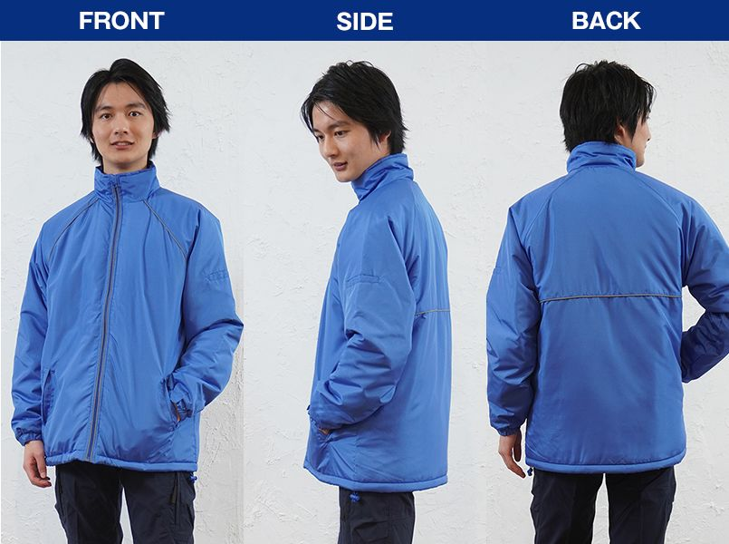 AZ2204 アイトス リフレクトジャケット(中綿)(男女兼用) モデル前後(メンズ)