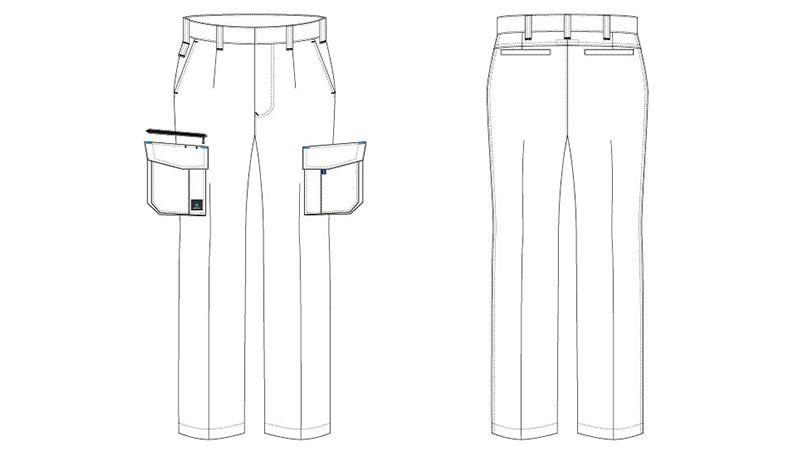 AZ30451 アイトス クールドライ カーゴパンツ(ワンタック) 春夏 ハンガーイラスト・線画