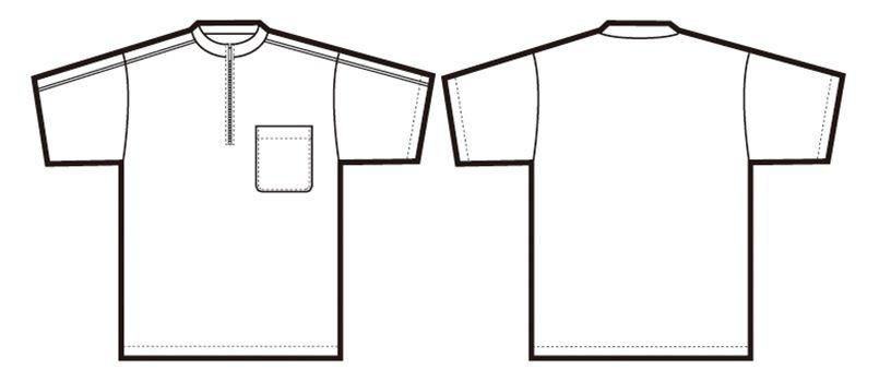 CL3000 アイトス 半袖クイック ドライジップ ポロシャツ(男性用) ニットパイピング ハンガーイラスト・線画