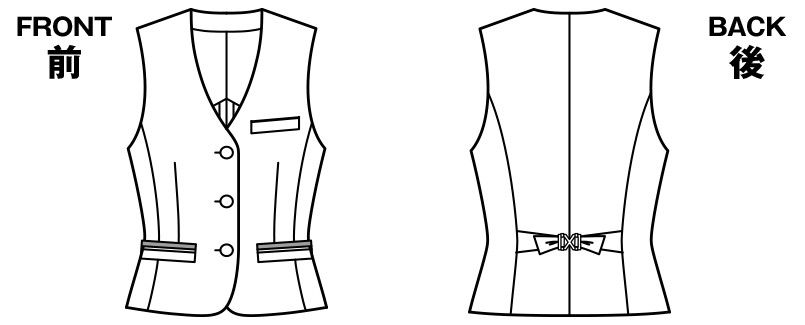 BONMAX LV1749 [春夏用]プラティーヌ ベスト チェック ハンガーイラスト・線画