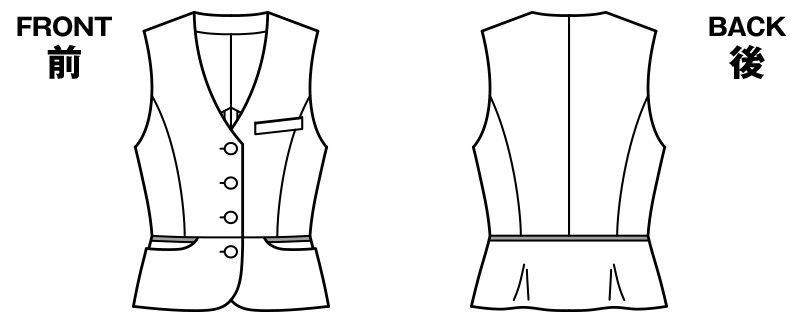 LV1756 BONMAX/カラーウィンドペン ベスト チェック ハンガーイラスト・線画