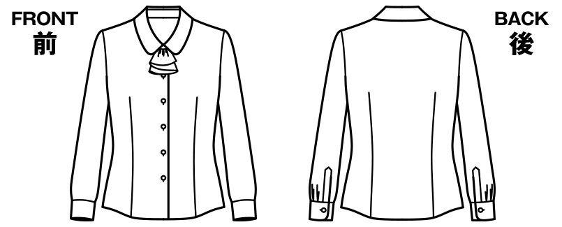 RB4155 BONMAX/リサール フェミニンなリボンが大人かわいい長袖ブラウス(リボン付き) ハンガーイラスト・線画