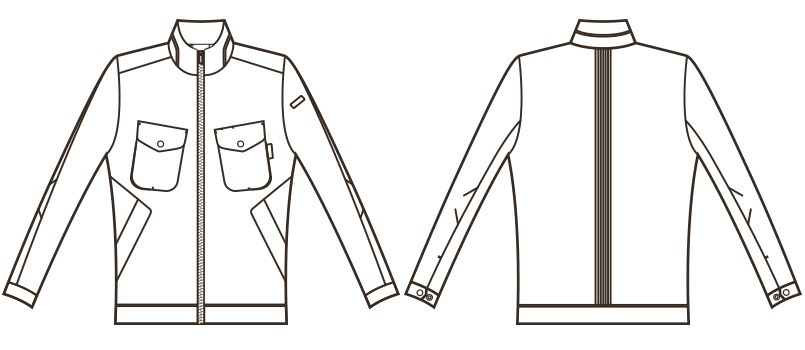 RJ0602 ROCKY メンズバックプリーツブルゾン(男性用) ハンガーイラスト・線画