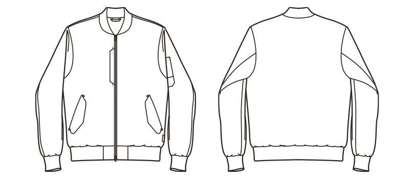 RJ0908 ROCKY ツイルMA-1ミリタリージャケット(男女兼用) ハンガーイラスト・線画