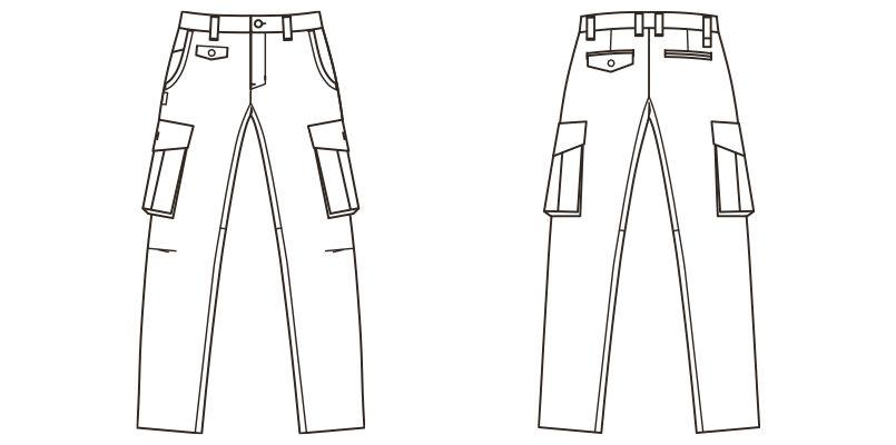 RP6903 ROCKY デニムカーゴパンツ(男女兼用) ハンガーイラスト・線画