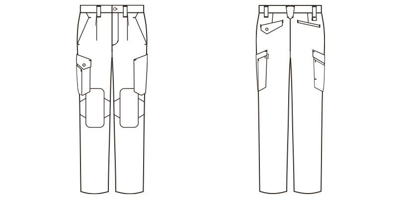 RP6912 ROCKY カーゴパンツ(男女兼用) コーデュラファブリック ハンガーイラスト・線画