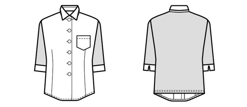 24218 BONUNI(ボストン商会) Tブラウス/五分袖(女性用) ストライプ ハンガーイラスト・線画