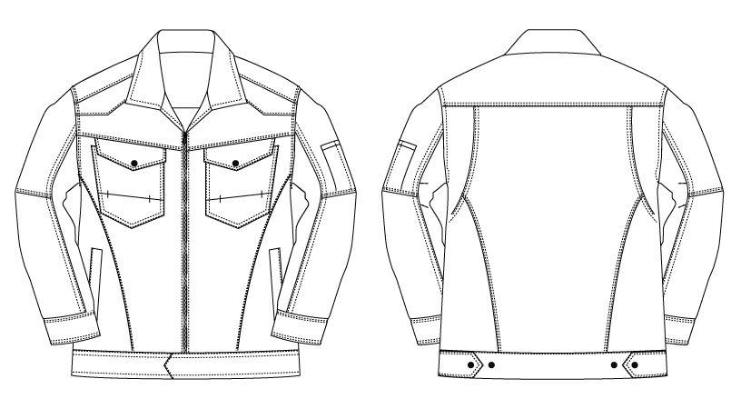 バートル 1501 ヘリンボーン&T/Cソフトツイルジャケット(男女兼用) ハンガーイラスト・線画