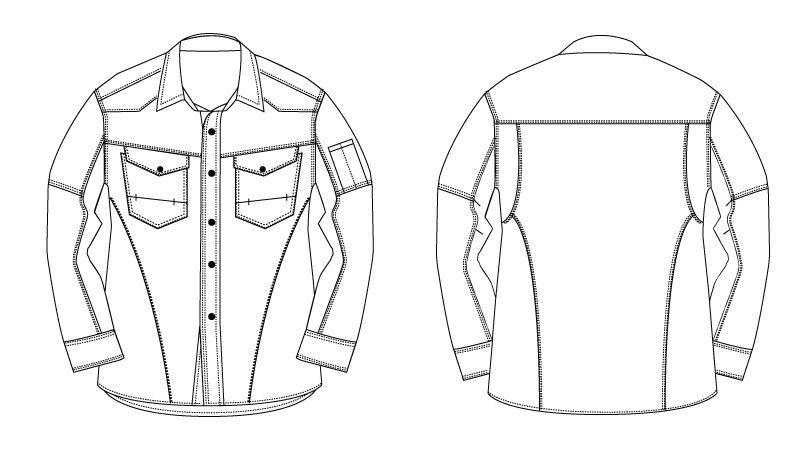 バートル 1515 ヘリンボーン&T/Cライトチノ長袖シャツ(男女兼用) ハンガーイラスト・線画