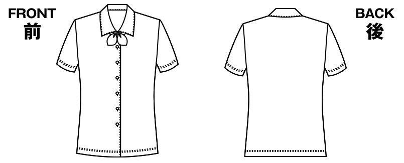 AR1672 アルファピア 半袖ブラウス(リボン付き) ハンガーイラスト・線画