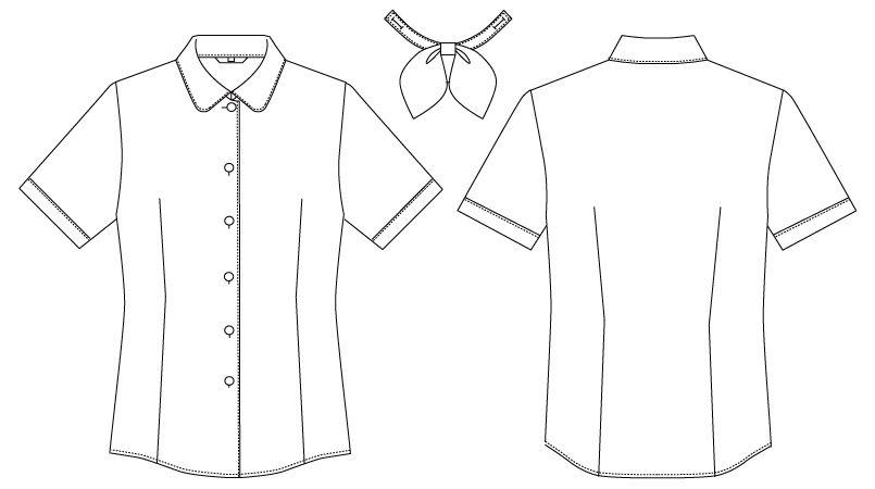BL-6815 チトセ(アルベ) [通年]ブラウス/半袖 リボンタイ付き(女性用) ハンガーイラスト・線画