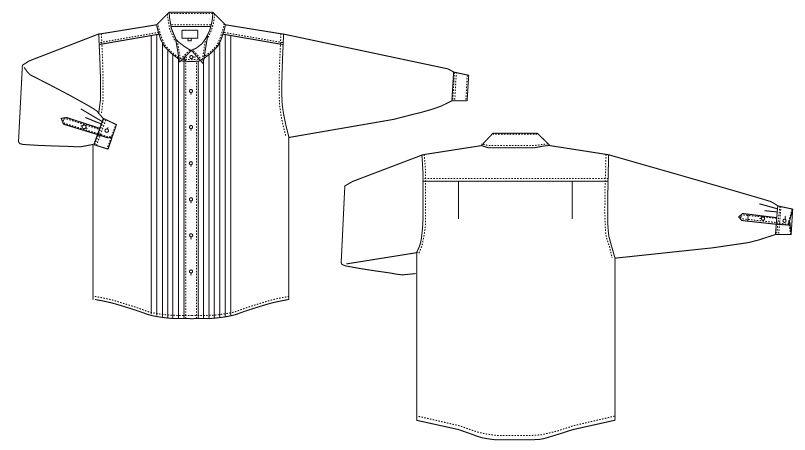 KM-4092 チトセ(アルベ) ピンタックウイングカラーシャツ(男性用) ハンガーイラスト・線画