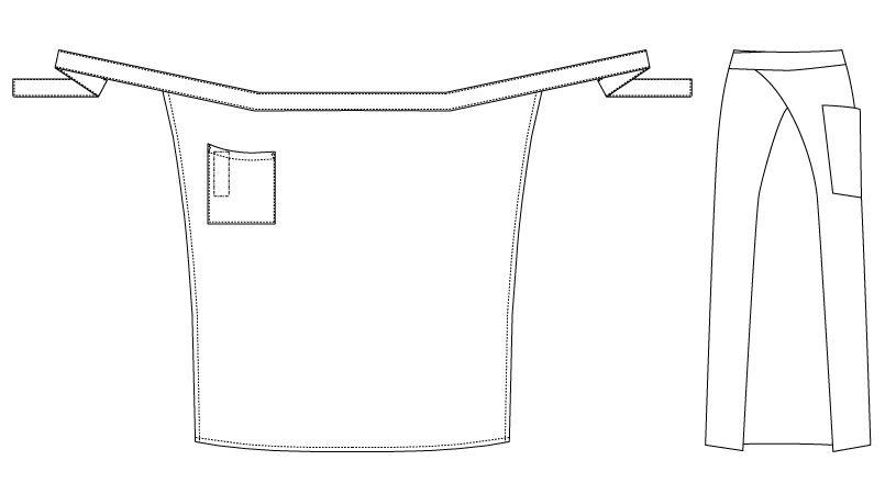 T-6233 チトセ(アルベ) ソムリエエプロン(男女兼用) ハンガーイラスト・線画