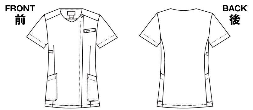 7019SC FOLK(フォーク)/フラワー 花柄ジップスクラブ(女性用) ハンガーイラスト・線画