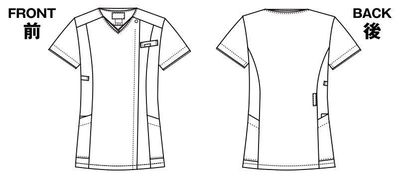 7022SC FOLK(フォーク) レディス ジップスクラブ(女性用) ハンガーイラスト・線画