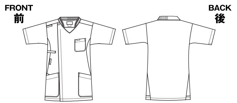 7044SC FOLK(フォーク) ZIP SCRUB メンズジップスクラブ(男性用) ハンガーイラスト・線画