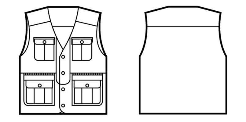 41610 自重堂 綿100%ベスト ハンガーイラスト・線画